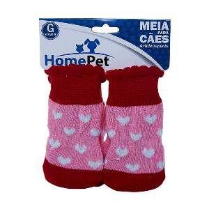 Meia poliester/algodao coracao rosa G - Home Pet - 9x0,9x9cm
