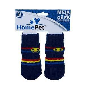 Meia poliester/algodao azul listrada M - Home Pet - 8x0,9x9cm