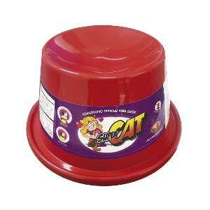 Comedouro plastico super cat vermelho 200ml - Furacao Pet - 21x21x10cm