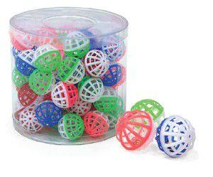 Brinquedo plastico bola com guizo para gatos - Chalesco - 60 unidades - 4cm
