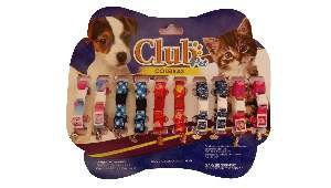 Coleira elastica com placa - Club Pet Viva - Cartela com 10 unidades - 150-250x15x4mm