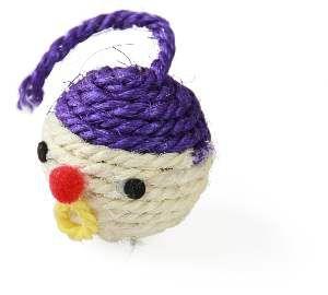 Brinquedo sisal bolinha palhaco para gatos - Napi - 6cm