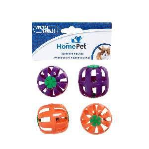 Brinquedo plastico bola com guizo sortida 4un - Home Pet - 8x4x8cm