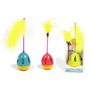 Brinquedo plastico play cat pop com penas - American Pet's - 17x7cm