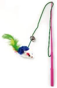 Brinquedo plastico varinha com rato e penas para gatos - Napi - 30 cm