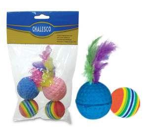 Brinquedo plastico bolas com catnip - 4 unidades - Chalesco - 2x11x16cm