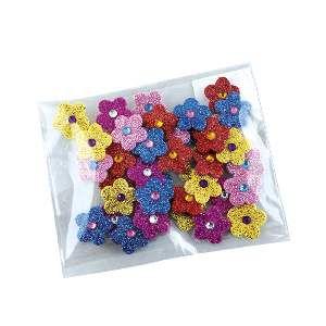 Adesivos aplicaveis flor com glitter M - Fernandes Laços - com 40 unidades