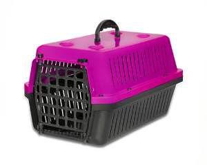 Caixa transporte plastica rosa N2 - Club Pet Alvorada - 48x32x28cm