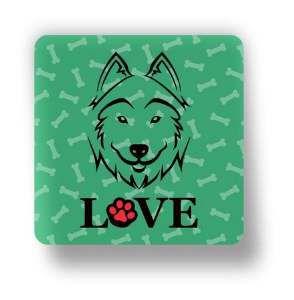 Ima love dog husky siberiano verde - Tatuagem Mania - 8x8cm
