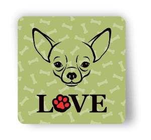 Ima love dog chihuahua verde - Tatuagem Mania - 8x8cm