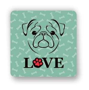 Ima love dog pug verde - Tatuagem Mania - 8x8cm