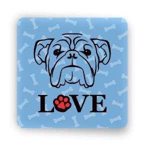 Ima love dog bulldog azul - Tatuagem Mania - 8x8cm