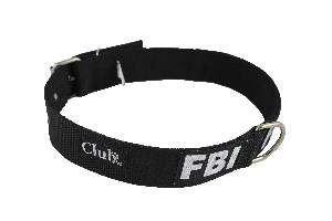 Coleira nylon FBI grande porte - Preto - N6 - Club Pet Viva - 550x30x7mm