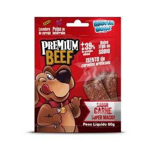 Bifinho carne premium beef 60g - Mister Bone - caixa com 30 unidades - 22x21x16cm