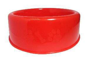 Comedouro plastico pata/osso vermelho 450ml - Club Still Pet - com 12 unidades - 18,3 x 5cm