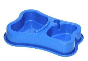 Comedouro plastico suplo osso M azul 700/400ml - Club Still Pet - 30x5cm