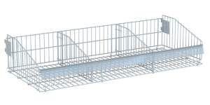 Cesta aço dobrável para gondolas com 2 divisórias - Gondolas Amapa - 37x92x17cm