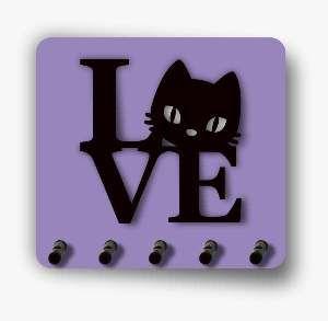 Porta chaves madeira 3D love cat - Tatuagem Mania - 10x15cm