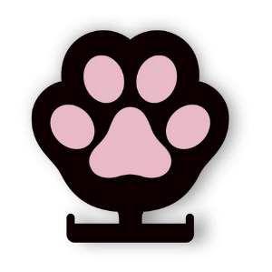 Porta coleira madeira 3D pata rosa - Tatuagem Mania - 14x15cm