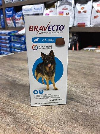 Bravecto 20 - 40 kg prevenção carrapatos e pulgas