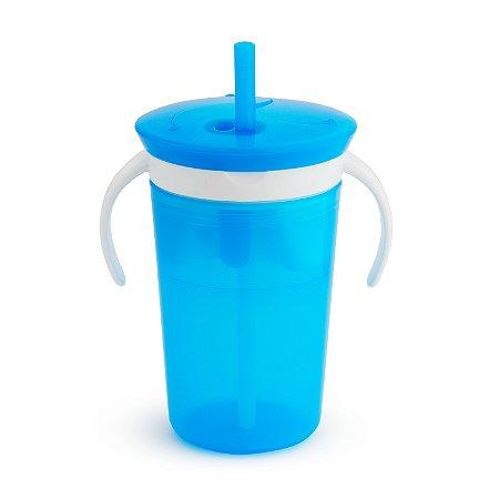Copo Porta Biscoito c/Alça e Canudo Anti Vazamento - Munchkin - Azul