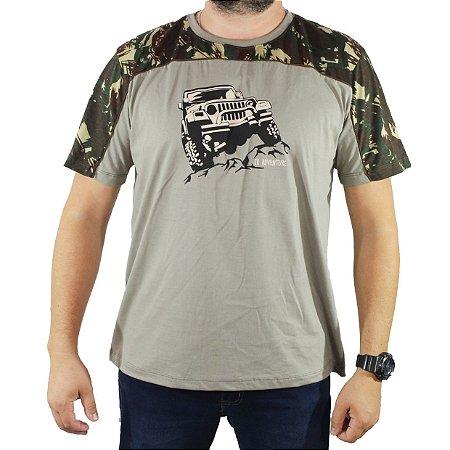 Camiseta ZkAdventure Estampa G Camuflada Cinza Masculina