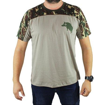 Camiseta ZkAdventure Estampa P Camuflada Cinza Masculina