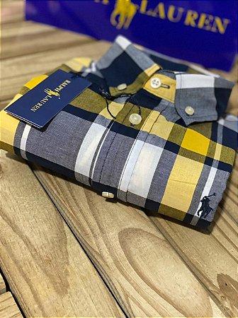 Camisa Ralph Lauren Masculina Custom Fit Plaid Cinza e amarelo