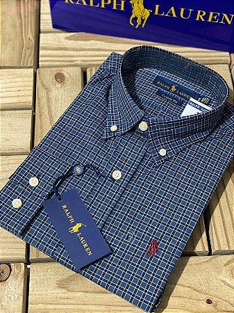 Camisa Ralph Lauren Masculina Custom Fit Xadrez Azul marinho