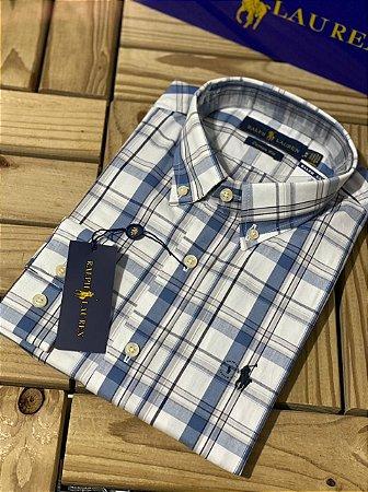 Camisa Ralph Lauren Masculina Custom Fit Xadrez Branca e azul
