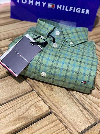 Camisa Tommy Hilfiger Masculina Regular Fit Xadrez Verde