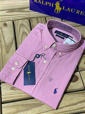 Camisa Ralph Lauren Masculina Custom Fit OXFORD Rosa