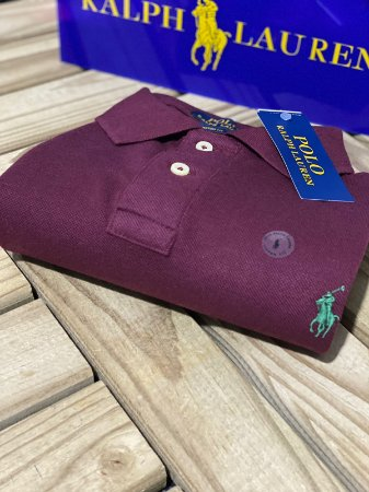 Polo Ralph Lauren Masculina Custom-Fit Vinho