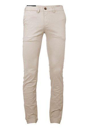 Calça Ralph Lauren Masculina de Sarja Chino Stretch Slim Fit Areia