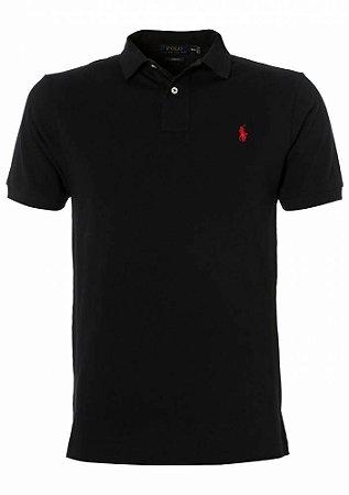 Camisa Polo Ralph Lauren Custom-Fit Preta