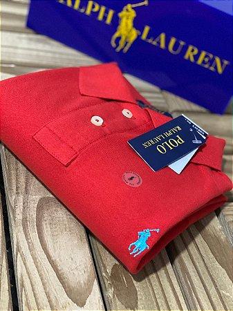 Camisa Polo Ralph Lauren Custom-Fit Vermelha
