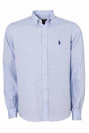 Camisa Ralph Lauren Masculina Custom Fit Lisa Azul claro