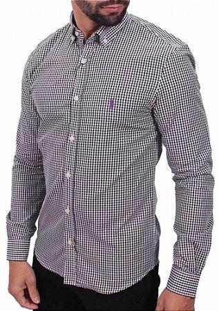Camisa Ralph Lauren Masculina Custom Fit Quadriculada Azul marnho