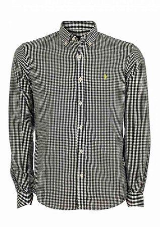 Camisa Ralph Lauren Masculina Custom Fit Quadriculada Preta
