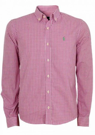 Camisa Ralph Lauren Masculina Custom Fit Quadriculada Vermelha