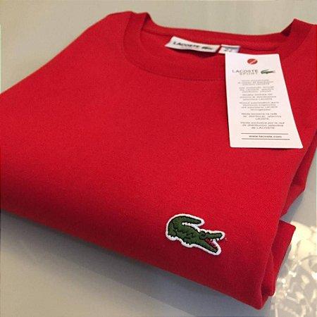 Camiseta Lacoste Basic Croc Bordado Vermelha
