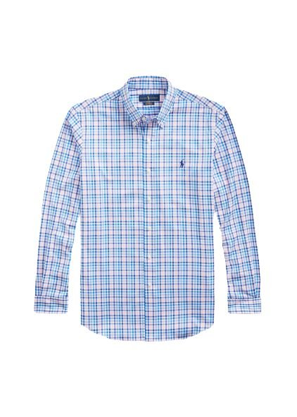 Camisa Ralph Lauren Masculina Custom Fit Plaid Azul e rosa