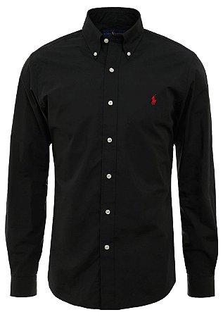Camisa Ralph Lauren Masculina Custom Fit smooth Preta
