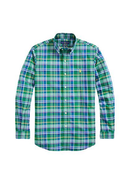 Camisa Ralph Lauren Masculina Custom Fit Plaid Verde
