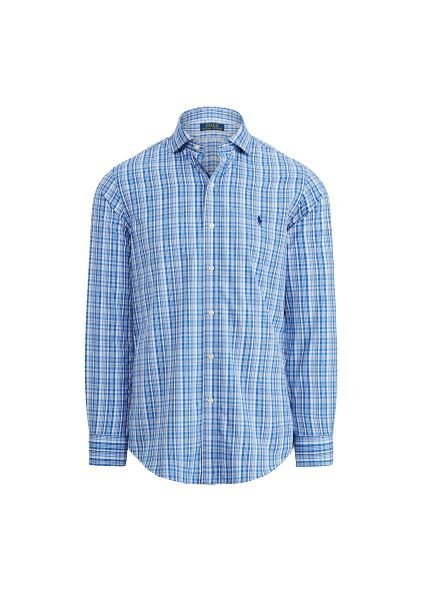 Camisa Ralph Lauren Masculina Custom Fit Plaid Azul