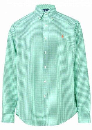 Camisa Ralph Lauren Masculina Custom Fit Quadriculada Verde