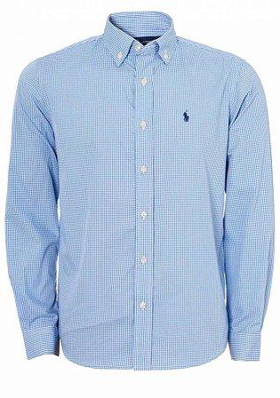 Camisa Ralph Lauren Masculina Custom Fit Plaid Azul claro