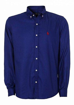 Camisa Ralph Lauren Masculina Custom Fit Smooth Azul escuro
