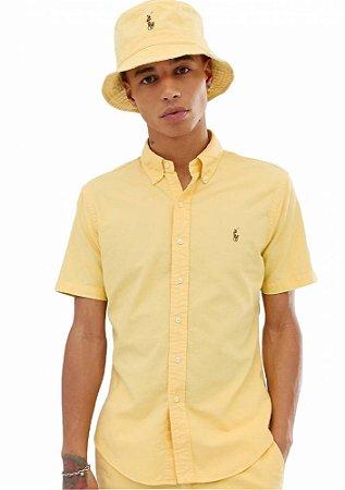 Camisa Ralph Lauren Masculina Manga curta Oxford Color Amarela