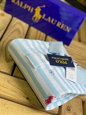 Camisa Polo Ralph Lauren Striped Azul claro